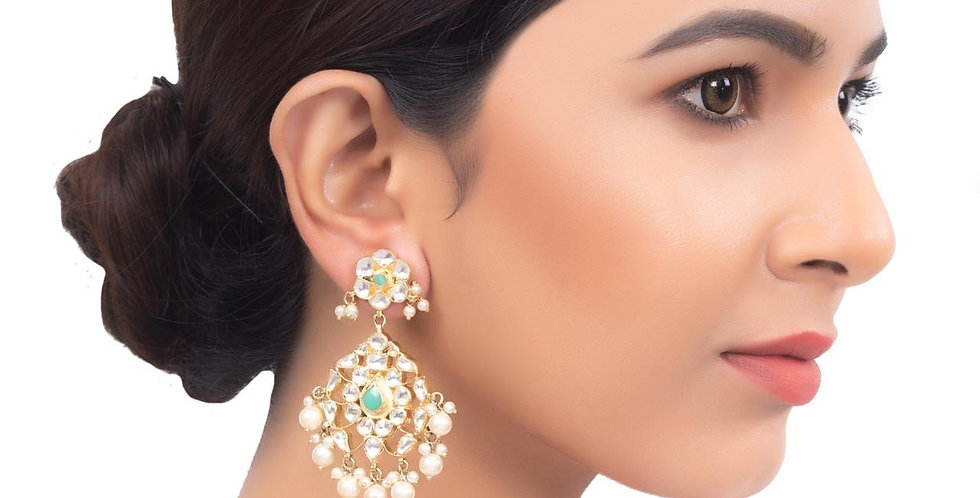 Pearl Embellished Multilayered Golden Chandbali Earrings