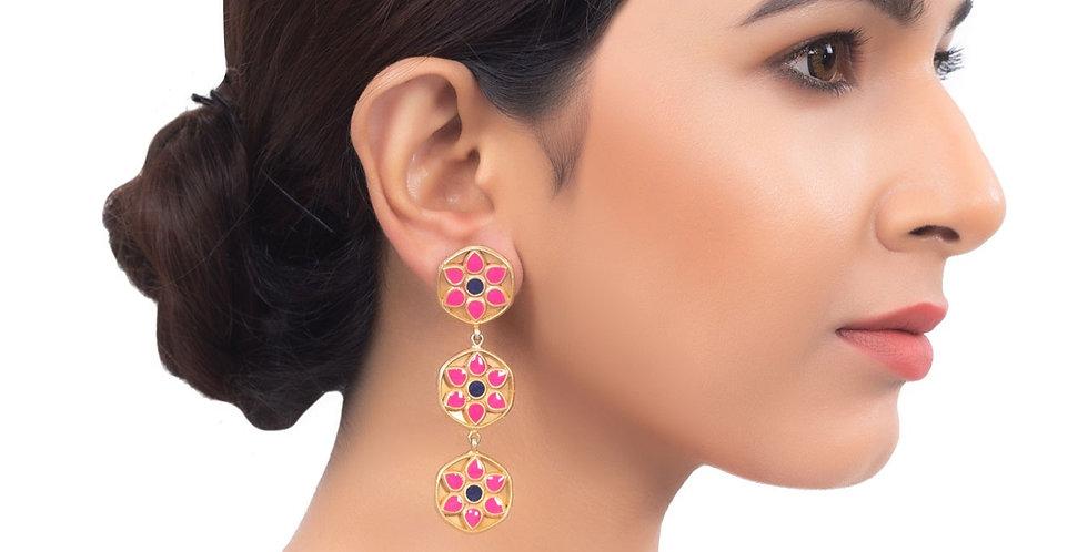 Pink Floral Drop Long Earrings.