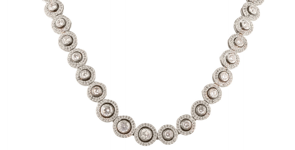 Silver Diamond Necklace Set