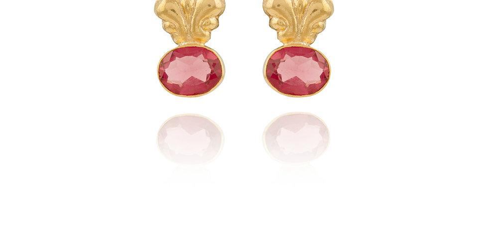 Wine Stone Pierced Top Earrings