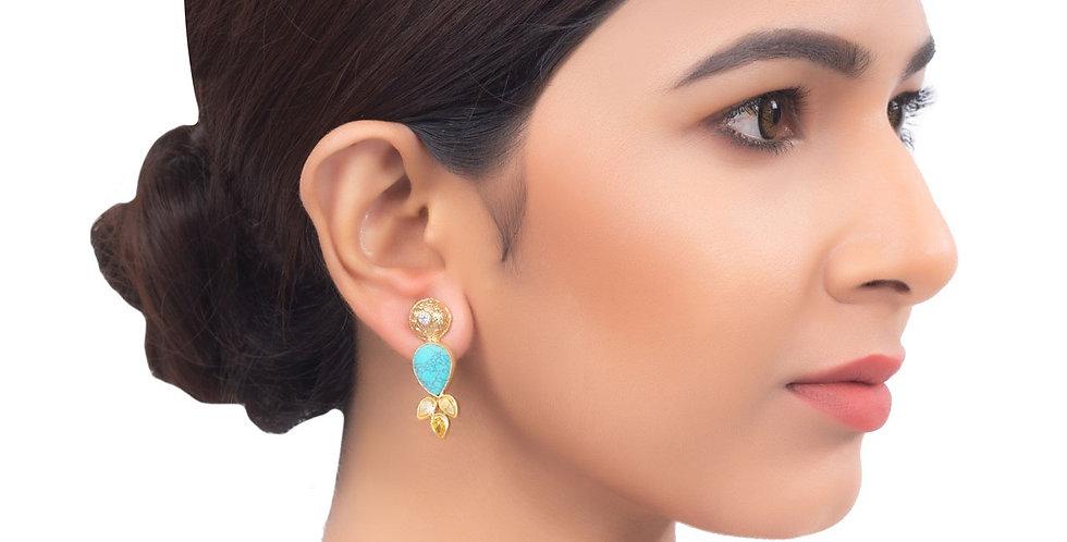 Turquoise and Golden Teardrop Earrings