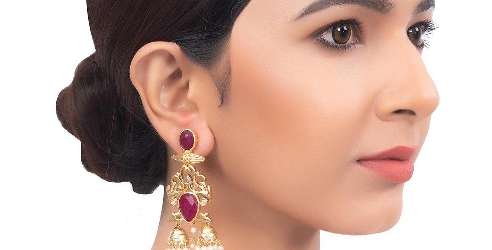 Chandelier Gleam Maroon Stone Crown Earrings