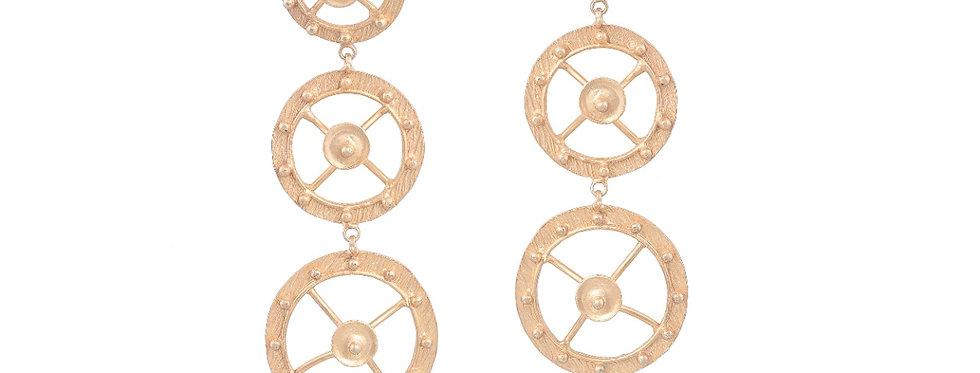 Golden Circular Dangler Earrings