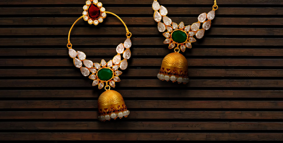 Silver Hoop and Red Green Stone Jhumkis