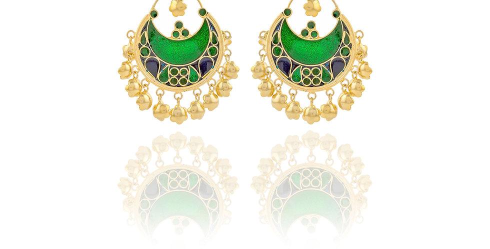 Golden and Green hued Meenakari Chandbalis