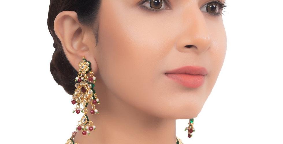Golden Ruby Kundan Bridal Necklace set