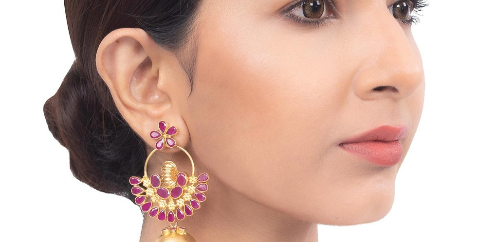 Golden and Pink hue Floral Jhumkis