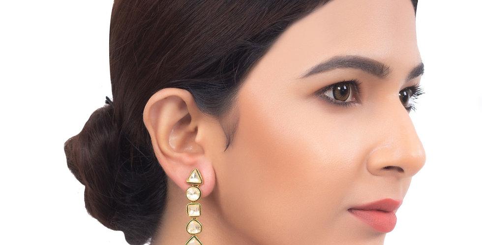 Moonlight Stud Golden Long Earrings