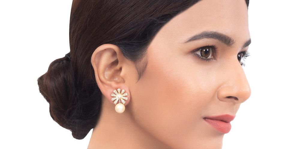 White Pearl Drop Golden Earrings