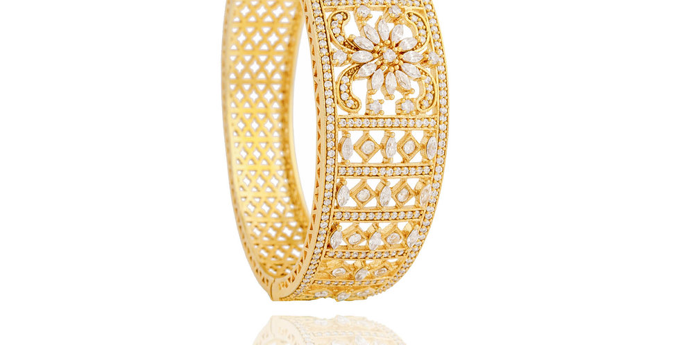 Glamorised Golden Floral Motif Bangle