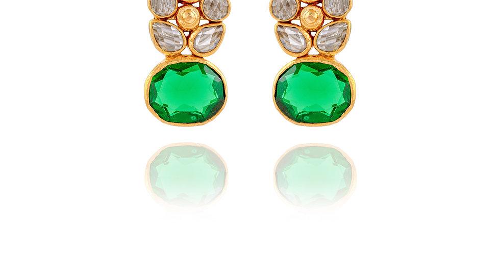 Green Rhinestone and White Polki Top Earrings