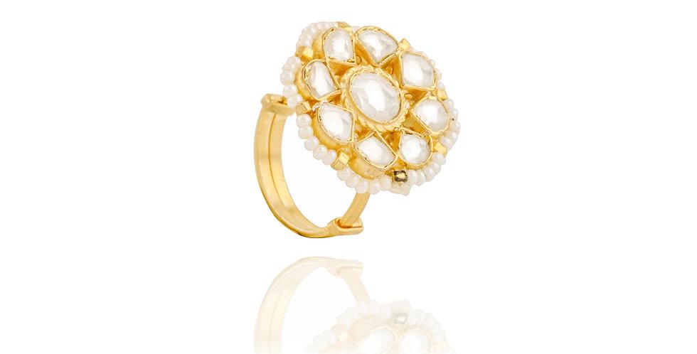 Gold Plated White Stone Finger Ring