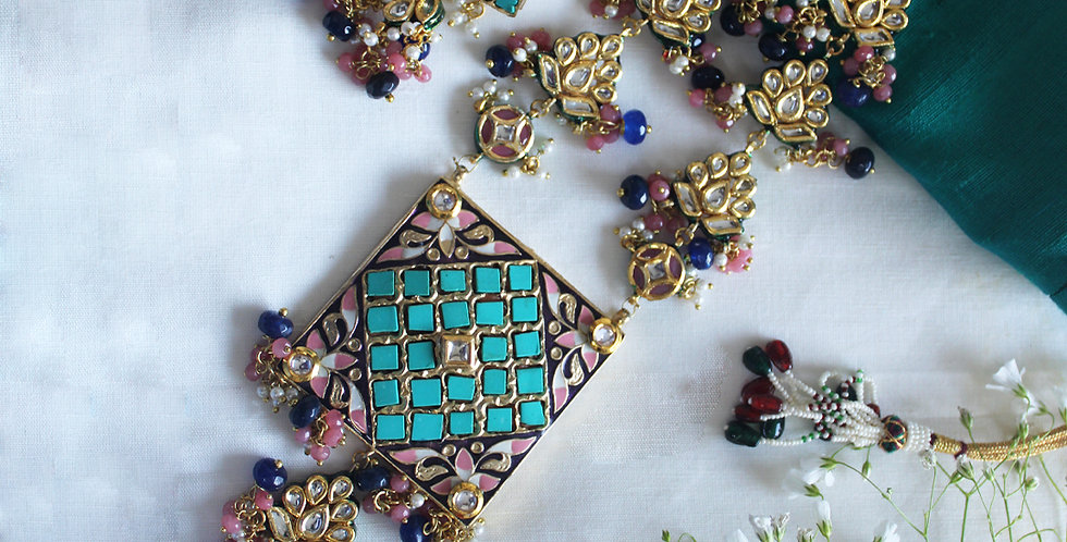 Enamel finished Teal Square Necklace