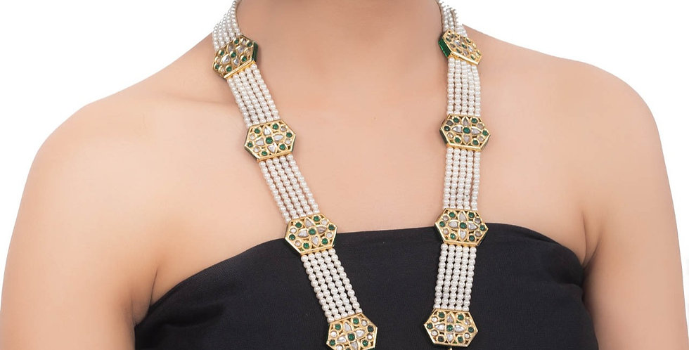 White Strings and Green Beads Bridal Necklace Set