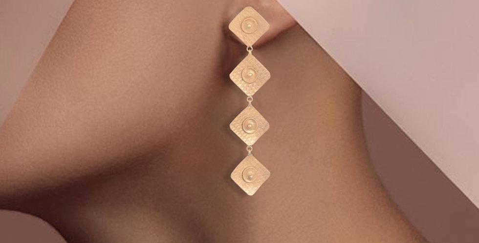 Golden diamond shape long earrings