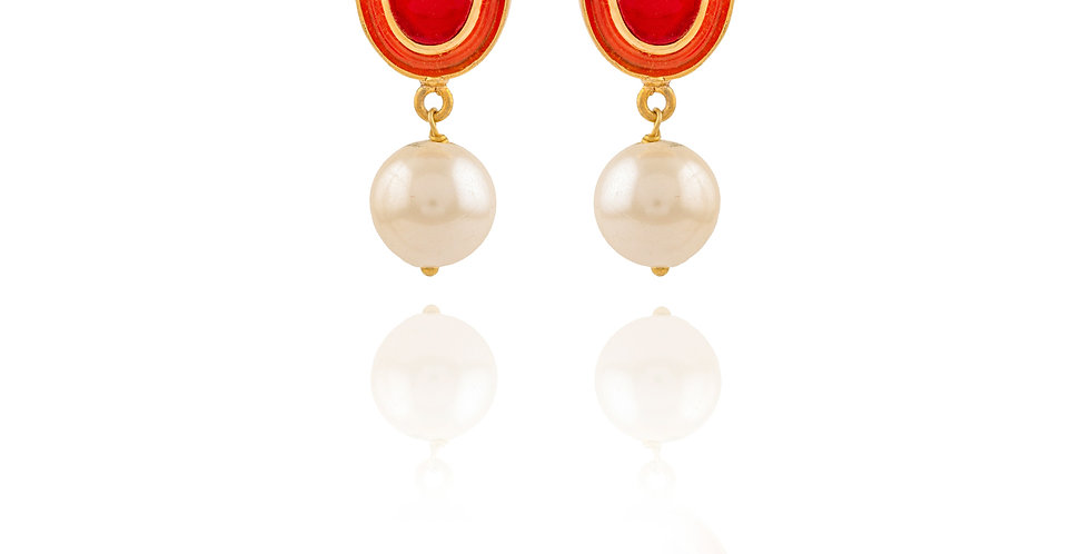 Fine Red stone and Pearl Drop Earrings