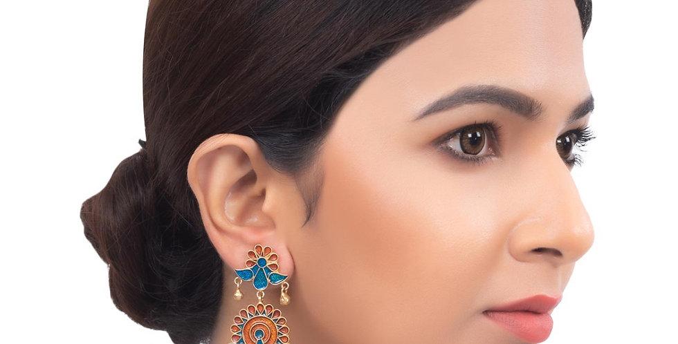 Peacock Golden Bead Earrings