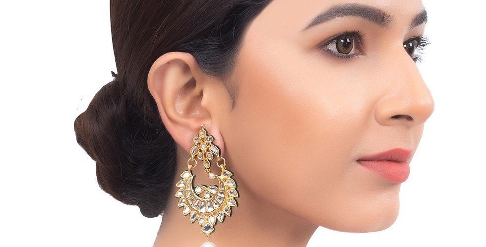 Heavily Embellished Golden Hue Kundan Drop Earrings