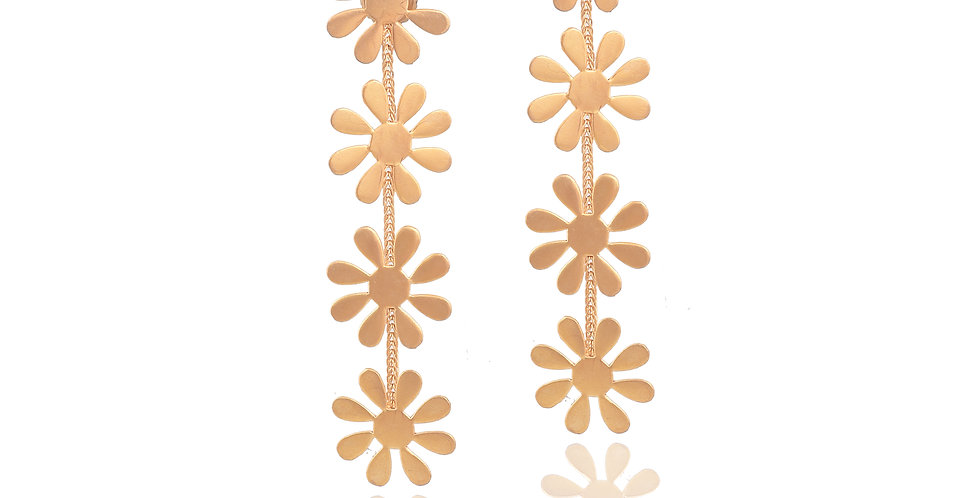 Golden Floral Dangler Earrings