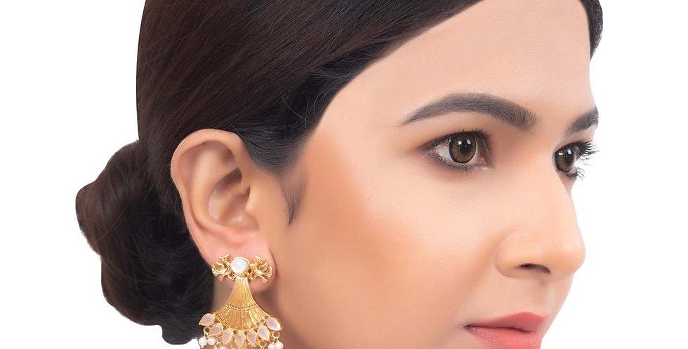 Mirror head Golden Bead Drop Earrings