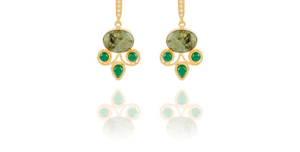 Green Rhinestone Medium Earrings