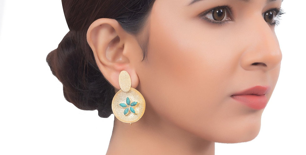 Gold and Blue Floral Centric Top earrings