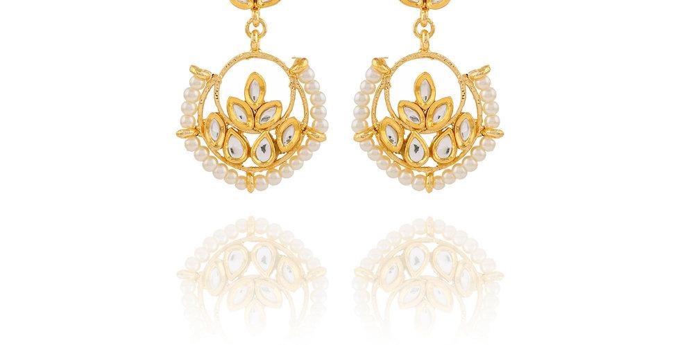 Golden White Stones and Pearl Chandbalis