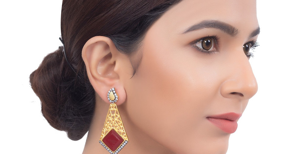 Red Stone Edgy Golden Long Earrings