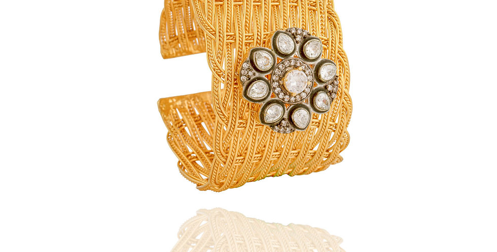 Golden Floral Motif Cuff