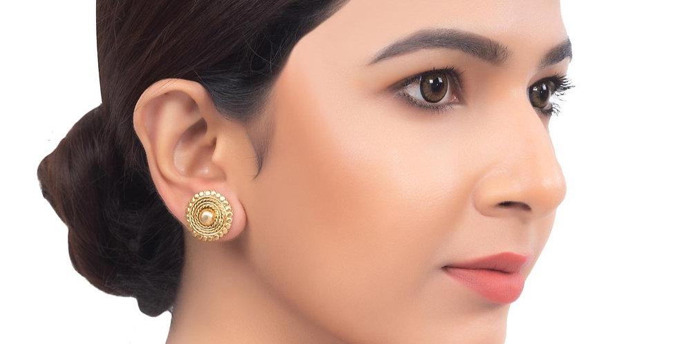 Wheel Motif Rose Gold Embossed Stud Earrings