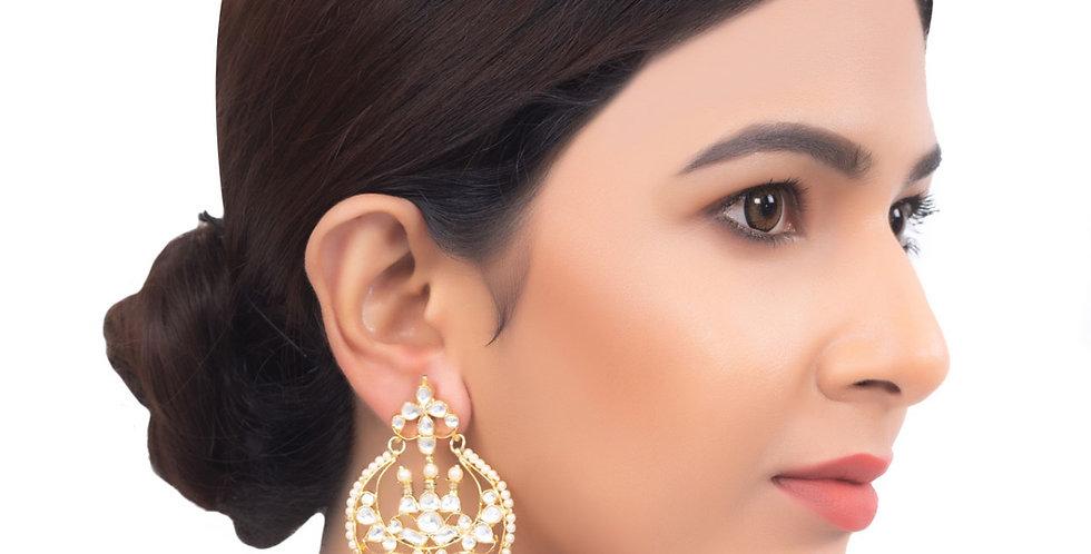 Polki Golden White Stones Chandbali Earrings