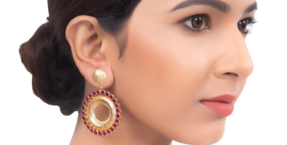 Red Garnet and gold plated Round Hoop Earrings