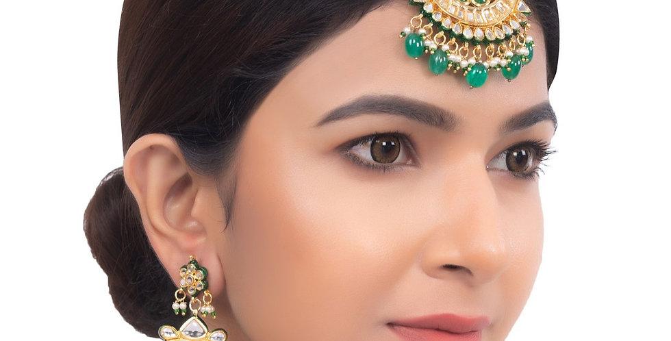 Golden Green Beads kundan maang tikka and earrings Set