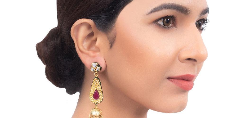 Red Bead Jhumki Earrings