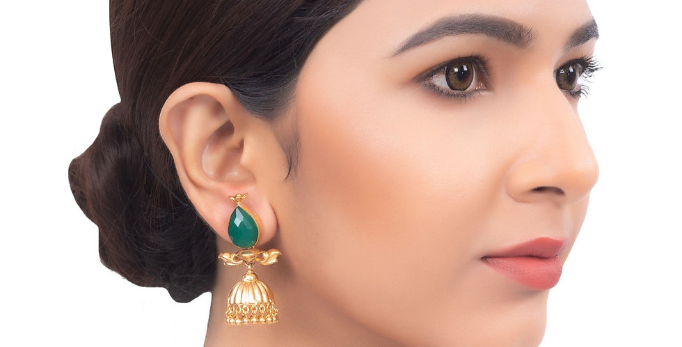 Green Stone with Golden Touch Jhumkis