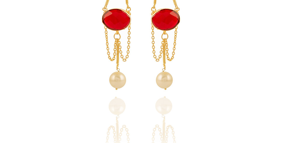 Golden Chain with Red and Green Stone Long Earrings