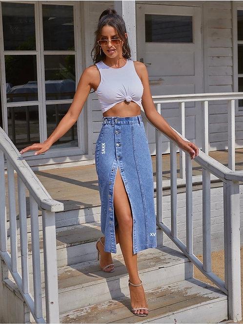 MidWest Midi Jean Skirt