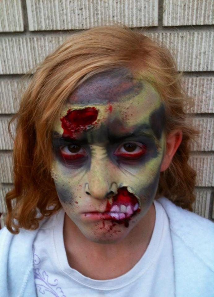 Green Zombie Halloween Makeup