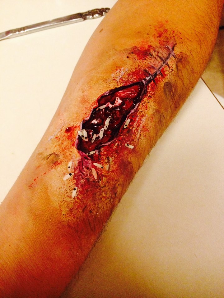 Maggot Wound Special Effect Makeup