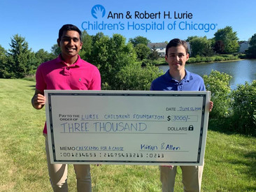 Allen and Kiran with $3000 for Lurie Children's fundraiser