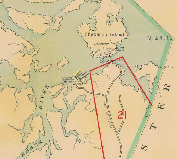 Map of the Essex River and Conomo Point (circa 1910), Essex, Massachusetts