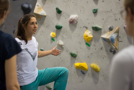 Coaching footwork at the Womens Climbing Symposium