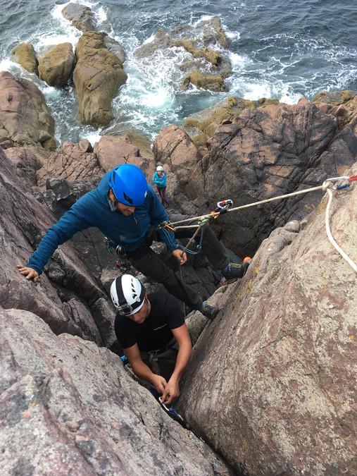 Teaching lead climbing at Reiff, NW Scotland