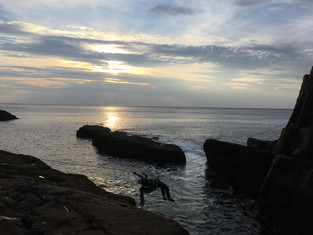 Tyrolean Traverse over to Old Man of Stoer