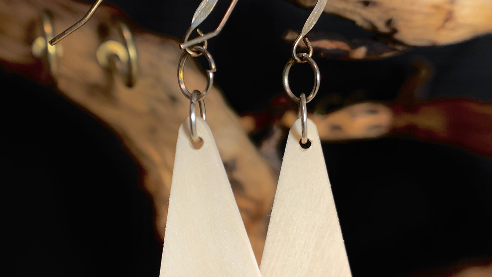 Silver Maple Wooden Earrings