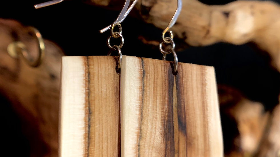 Square Shaped Maple Wooden Earrings