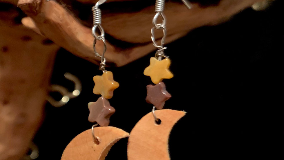 Wooden Moons with Star Beads