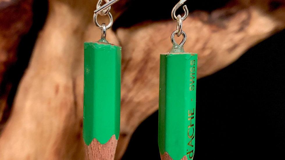 Green Pencil Earrings