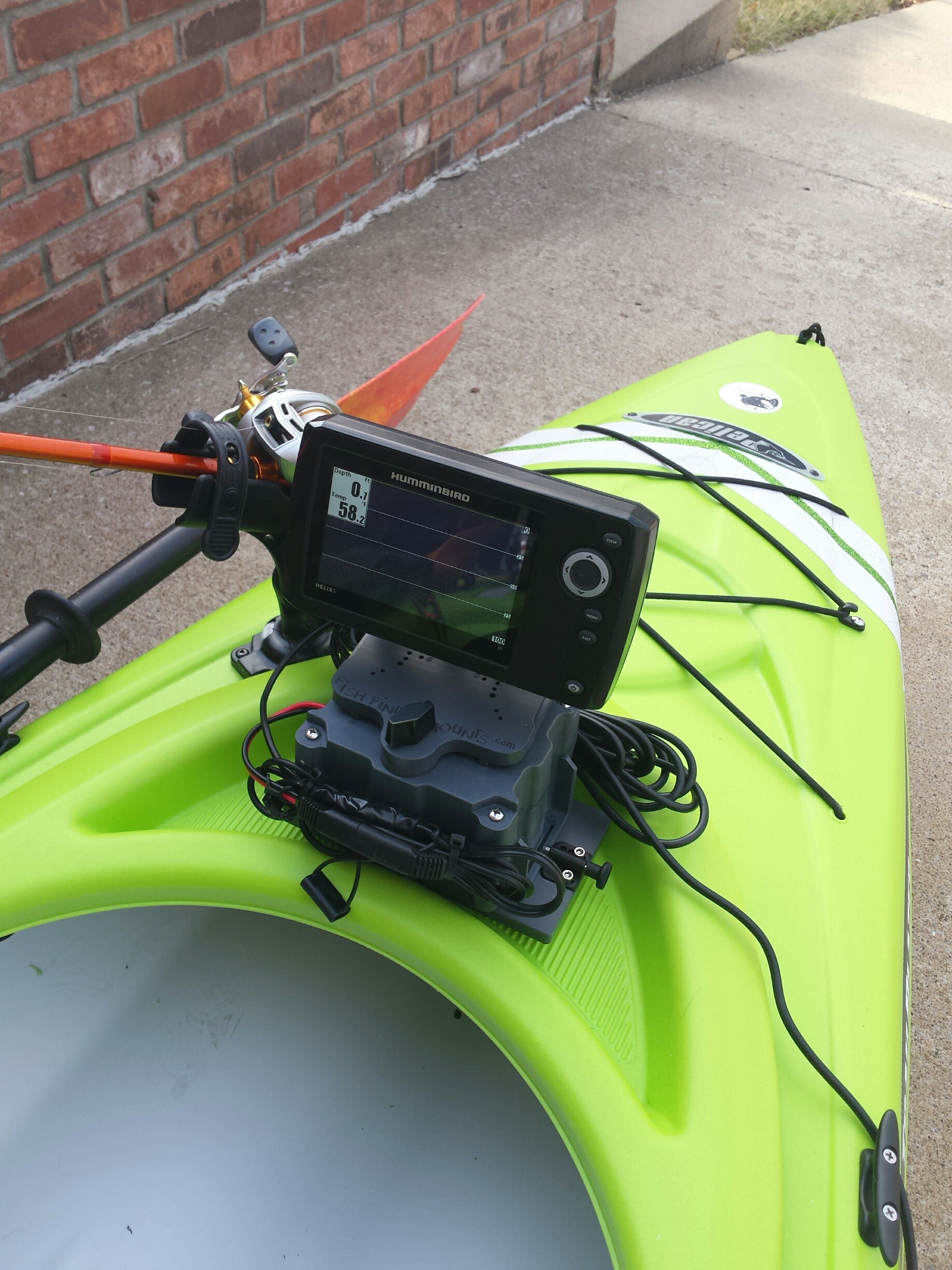 sit inside kayak fishfinder set-up