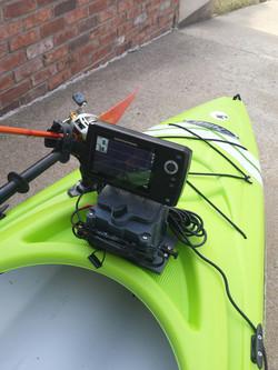 sit inside kayak fishfinder set-up